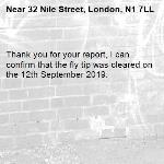 Thank you for your report, I can confirm that the fly tip was cleared on the 12th September 2019.-32 Nile Street, London, N1 7LL