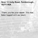 Thank you for your report. This has been logged with our team.-18 Holly Road, Farnborough, GU14 0EA