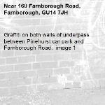 Graffiti on both walls of underpass between Pinehurst car park and Farnborough Road.  image 1-160 Farnborough Road, Farnborough, GU14 7JH