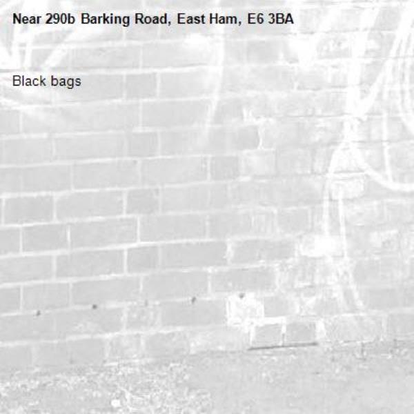 Black bags -290b Barking Road, East Ham, E6 3BA