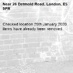 Checked location 25th January 2020 items have already been removed. 