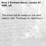 The street will be swept on our next weekly visit. Thankyou for reporting it.-8 Earlham Grove, London E7 9AW, UK