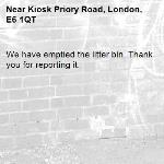 We have emptied the litter bin. Thank you for reporting it.-Kiosk Priory Road, London, E6 1QT