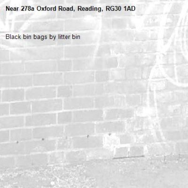 Black bin bags by litter bin-278a Oxford Road, Reading, RG30 1AD