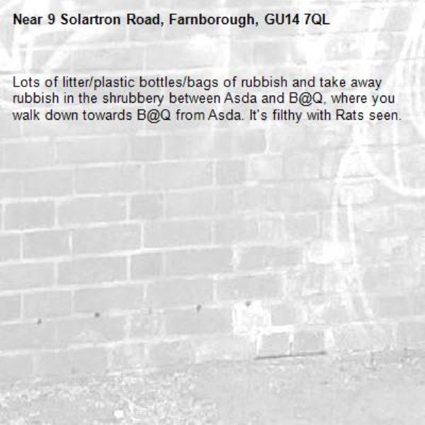 Lots of litter/plastic bottles/bags of rubbish and take away rubbish in the shrubbery between Asda and B@Q, where you walk down towards B@Q from Asda. It's filthy with Rats seen.-9 Solartron Road, Farnborough, GU14 7QL