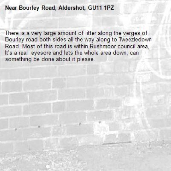 There is a very large amount of litter along the verges of Bourley road both sides all the way along to Tweezledown Road. Most of this road is within Rushmoor council area, It's a real  eyesore and lets the whole area down, can something be done about it please.-Bourley Road, Aldershot, GU11 1PZ