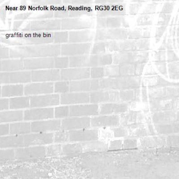 graffiti on the bin -89 Norfolk Road, Reading, RG30 2EG