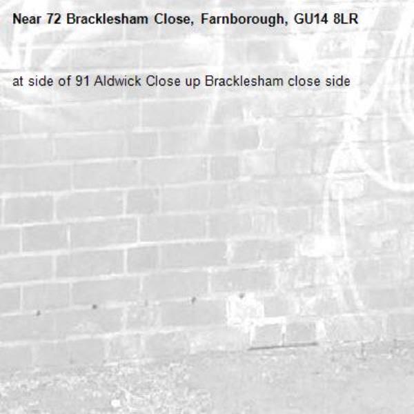 at side of 91 Aldwick Close up Bracklesham close side -72 Bracklesham Close, Farnborough, GU14 8LR