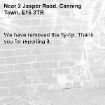 We have removed the fly-tip. Thank you for reporting it.-2 Jasper Road, Canning Town, E16 3TR