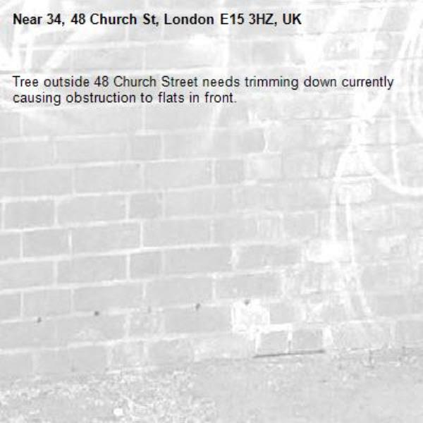 Tree outside 48 Church Street needs trimming down currently causing obstruction to flats in front. -34, 48 Church St, London E15 3HZ, UK