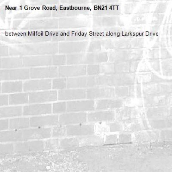 between Milfoil Drive and Friday Street along Larkspur Drive-1 Grove Road, Eastbourne, BN21 4TT