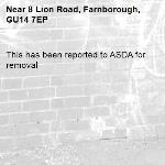 This has been reported to ASDA for removal -8 Lion Road, Farnborough, GU14 7EP