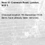 Checked location 7th December 2018 items have already been removed. 
