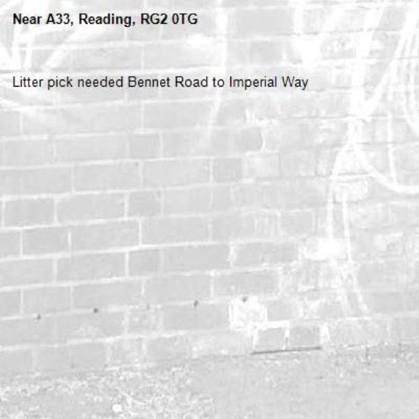 Litter pick needed Bennet Road to Imperial Way-A33, Reading, RG2 0TG