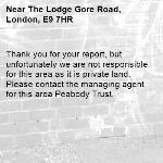 Thank you for your report, but unfortunately we are not responsible for this area as it is private land. Please contact the managing agent for this area Peabody Trust.-The Lodge Gore Road, London, E9 7HR