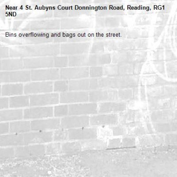 Bins overflowing and bags out on the street. -4 St. Aubyns Court Donnington Road, Reading, RG1 5ND