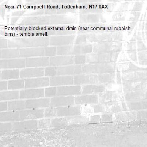 Potentially blocked external drain (near communal rubbish bins) - terrible smell.-71 Campbell Road, Tottenham, N17 0AX