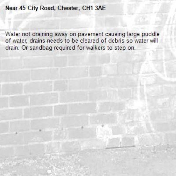 Water not draining away on pavement causing large puddle of water, drains needs to be cleared of debris so water will drain. Or sandbag required for walkers to step on.-45 City Road, Chester, CH1 3AE