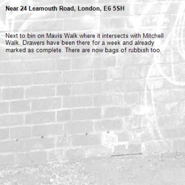Next to bin on Mavis Walk where it intersects with Mitchell Walk. Drawers have been there for a week and already marked as complete. There are now bags of rubbish too.-24 Leamouth Road, London, E6 5SH