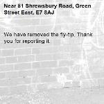 We have removed the fly-tip. Thank you for reporting it.-81 Shrewsbury Road, Green Street East, E7 8AJ