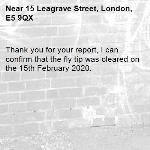 Thank you for your report, I can confirm that the fly tip was cleared on the 15th February 2020.
