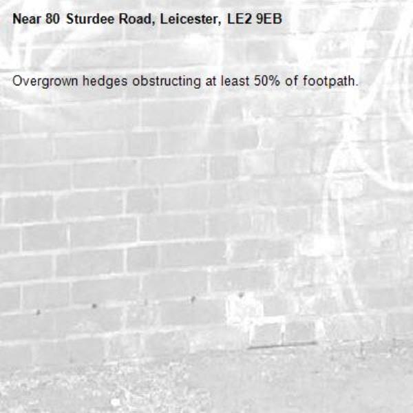 Overgrown hedges obstructing at least 50% of footpath. -80 Sturdee Road, Leicester, LE2 9EB