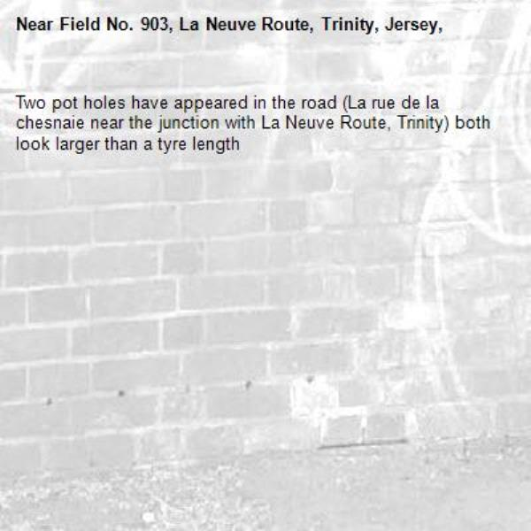 Two pot holes have appeared in the road (La rue de la chesnaie near the junction with La Neuve Route, Trinity) both look larger than a tyre length-Field No. 903, La Neuve Route, Trinity, Jersey,