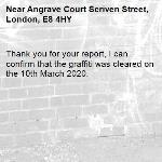 Thank you for your report, I can confirm that the graffiti was cleared on the 10th March 2020.-Angrave Court Scriven Street, London, E8 4HY