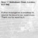 Further investigation is underway to resolve the issue by our supervisors. Thank you for reporting it.-17 Wattsdown Close, London, E13 0NZ