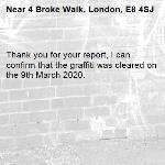 Thank you for your report, I can confirm that the graffiti was cleared on the 9th March 2020.