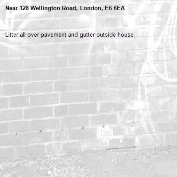 Litter all over pavement and gutter outside house.-128 Wellington Road, London, E6 6EA
