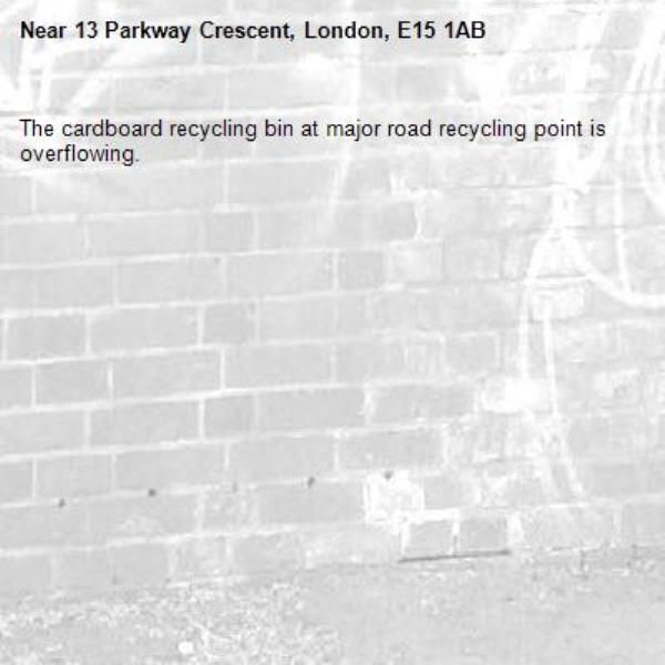 The cardboard recycling bin at major road recycling point is overflowing.-13 Parkway Crescent, London, E15 1AB