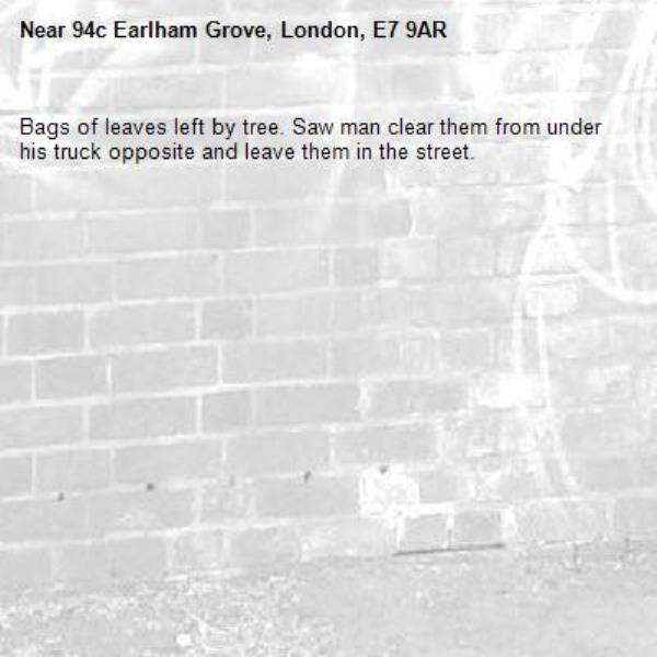 Bags of leaves left by tree. Saw man clear them from under his truck opposite and leave them in the street.-94c Earlham Grove, London, E7 9AR