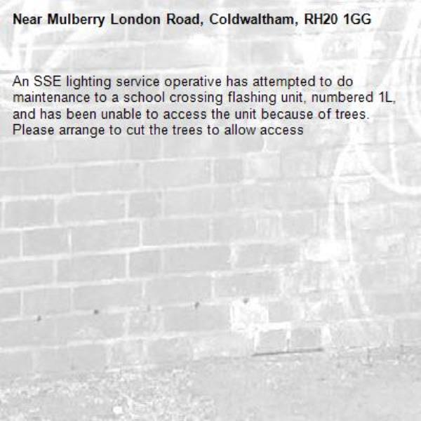 An SSE lighting service operative has attempted to do maintenance to a school crossing flashing unit, numbered 1L, and has been unable to access the unit because of trees. Please arrange to cut the trees to allow access-Mulberry London Road, Coldwaltham, RH20 1GG