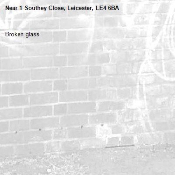 Broken glass -1 Southey Close, Leicester, LE4 6BA