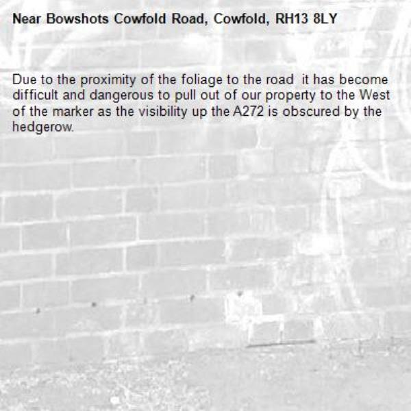 Due to the proximity of the foliage to the road  it has become difficult and dangerous to pull out of our property to the West of the marker as the visibility up the A272 is obscured by the hedgerow.-Bowshots Cowfold Road, Cowfold, RH13 8LY