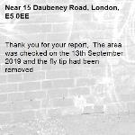 Thank you for your report,  The area was checked on the 13th September 2019 and the fly tip had been removed -15 Daubeney Road, London, E5 0EE