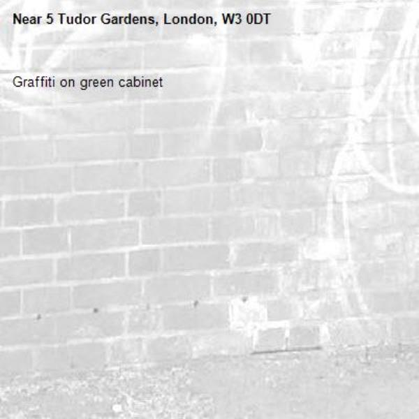 Graffiti on green cabinet -5 Tudor Gardens, London, W3 0DT