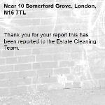 Thank you for your report this has been reported to the Estate Cleaning Team.-10 Somerford Grove, London, N16 7TL
