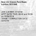 JOB NUMBER: 2274708 APPT DATE/ TIME: 08:00 and 15:59 on 16/09/2019 TARGET COMPLETION DATE: 22/10/19-242 Craven Park Road, London, N15 6AE