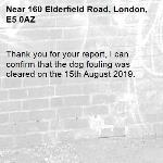 Thank you for your report, I can confirm that the dog fouling was cleared on the 15th August 2019.-160 Elderfield Road, London, E5 0AZ