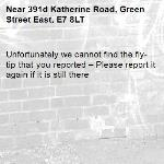 Unfortunately we cannot find the fly-tip that you reported – Please report it again if it is still there-391d Katherine Road, Green Street East, E7 8LT