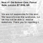 We are not responsible for this land. We have informed the landowner, but we may not be able to  resolve ourselves. Thank you for reporting it.-41 Old School Cres, Forest Gate, London E7 9HQ, UK