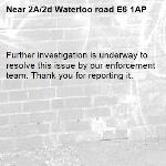 Further investigation is underway to resolve this issue by our enforcement team. Thank you for reporting it.-2A/2d Waterloo road E6 1AP