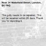 The gully needs to be repaired. This will be repaired within 28 days. Thank you for reporting it.-34 Wakefield Street, London, E6 1NQ