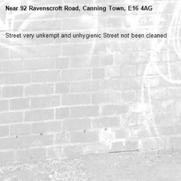 Street very unkempt and unhygienic Street not been cleaned -92 Ravenscroft Road, Canning Town, E16 4AG