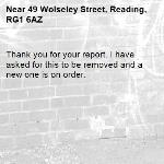 Thank you for your report. I have asked for this to be removed and a new one is on order. -49 Wolseley Street, Reading, RG1 6AZ