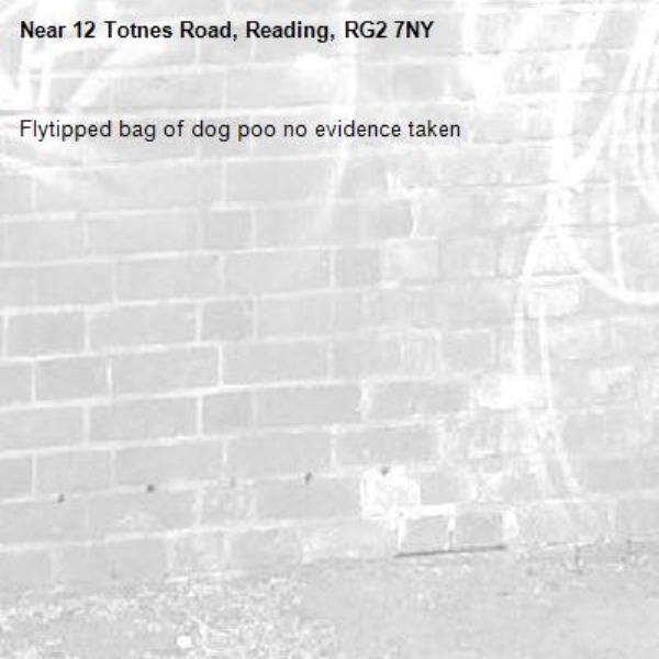 Flytipped bag of dog poo no evidence taken -12 Totnes Road, Reading, RG2 7NY
