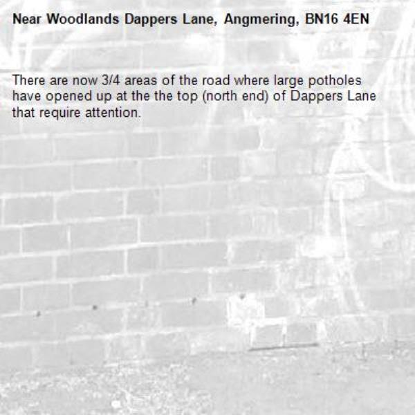 There are now 3/4 areas of the road where large potholes have opened up at the the top (north end) of Dappers Lane that require attention.-Woodlands Dappers Lane, Angmering, BN16 4EN
