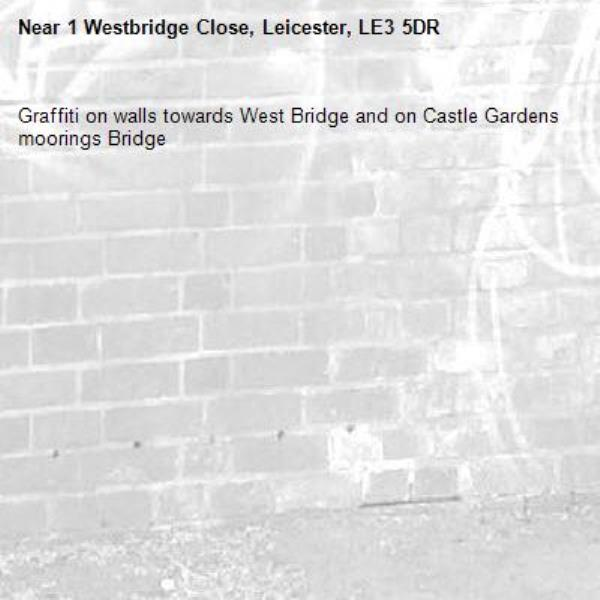 Graffiti on walls towards West Bridge and on Castle Gardens moorings Bridge-1 Westbridge Close, Leicester, LE3 5DR